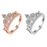 Sterling Silver Rose Gold Princess Tiara Queen Crown Ring High Quality Size 6-9
