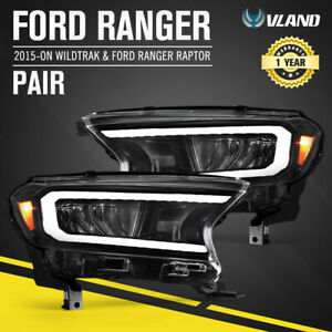 VLAND LED Sequential Indicator Headlights for Ford Ranger 2015-ON Wildtrak