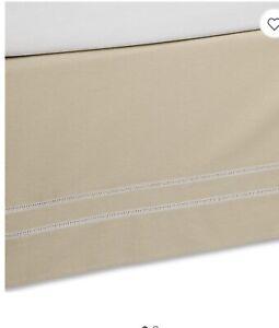 B. Smith LinenWeave Hemstitch Full Bed Skirt in Stone