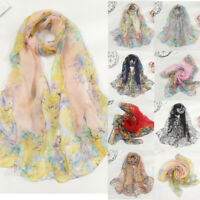 Lady Women Printted Floral Long Soft Wrap Stole Scarf Chiffon Silk Shawl Scarves