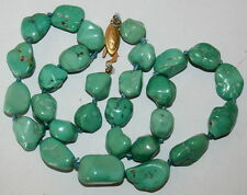 VINTAGE NATURAL 13-20mm TURQUOISE SILVER GOLD P CLASP GRADUATED KNOTTED NECKLACE