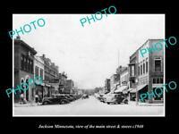 OLD LARGE HISTORIC PHOTO OF JACKSON MINNESOTA, THE MAIN STREET & STORES c1940