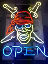 "New Tatto Open Pirate Neon Light Sign 24""x20"" Lamp Poster Real Glass Beer Bar"