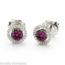 18Carat White Gold Ruby & Diamond Halo Cluster Stud Earrings 0.35cts