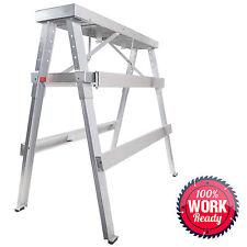 "Drywall Bench Sawhorse Step Ladder - Adjustable Height Workbench 18""-44"""