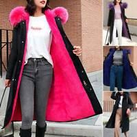 Women Fur Collar Hooded Fleece Lined Coats Long Parka Winter Warm Padded Jacket
