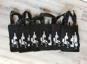 6 WINE / LIQUOR Bags with 4 Separate Bottle CARRY COMPARTMENTS
