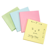 """4 x Blocks of 100 Sticky Coloured Notes 75mm x 75mm 3"""" x 3"""" Pastel Square Office"""
