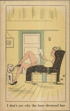 ZITO Sexy Divorcee At Home w/ Westhighland Terrier Dog ART Deco Postcard bck
