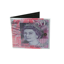Novelty Bank of England £50 Note Bi-fold Money Wallet. ID Window, Card Holder