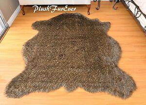 60 x 72 Black Tip Coyote Accents Faux Fur Area Rug Bison Buffalo PlushFurEver