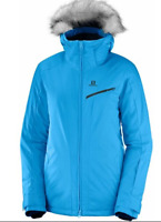 Salomon Rise Ski Snowboarding Jacket Coat Womens Size UK 12 (M) Blue *REF138