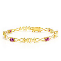 2.00 Ct Oval Pink Created Sapphire 18K Yellow Gold Plated Silver Mom Bracelet