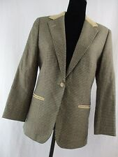 CRAVATS WOMEN'S HOUNDS-TOOTH BLAZER BROWN SUEDE COLLAR PLAID MED         S6