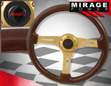 FOR TOYOTA 345MM DARK BROWN WOOD GRAIN TRIM HEAVY DUTY GOLD STEEL STEERING WHEEL