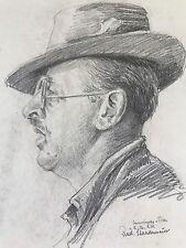 Bleistift-Zeichnung Münchner Schule Porträt Josef Eibl Rudolf Staudenmeier ~1930