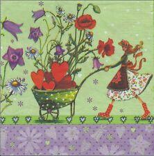2 Serviettes en papier Fleurs Coquelicot - Paper Napkins Romantic Walk Poppies