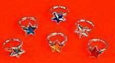 12 x STAR SHAPED JEWELLERY RINGS GIRLS Party Bag Pocket Money Toys + FREE BAG