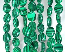 HEDGE MAZES MALACHITE GEMSTONE GREEN OVAL 10X8MM LOOSE BEADS 15.5""