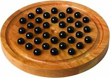 NEW GAME Wooden MARBLE SOLITAIRE + How To Play  Cherry Wood- Glass Marbles  USA