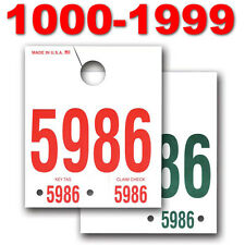 Service Department Dispatch Number Hang Tags - 1000 through 1999