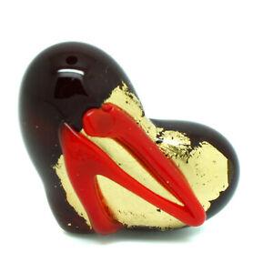 Murano Glass Ring Red and Gold Heart Shape Millefiori Venice