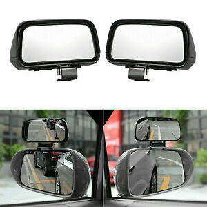 2x ABS Rectangle Shape Mirror 360° Angle Adjustable Wide Rear View Blind Spot