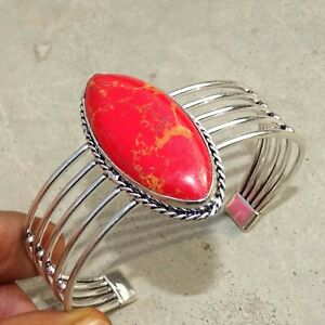 925 Silver Plated Red Copper Turquoise Bangle Cuff Bracelet Jewelry JAN03120-2