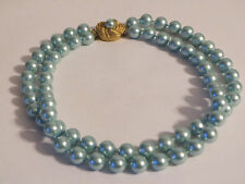 Retro Light Blue Faux Pearl Multi-Strand Necklace with Matte Gold Flower Clasp