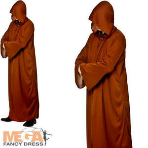 Brown Hooded Robe Mens Fancy Dress Cult Halloween Adults Costume Accessory