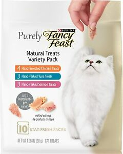 (2) Purina Fancy Feast Purely Natural Hand-Flaked Variety PK Cat Treats 1.06 Oz.