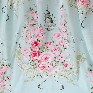 1 Yard 100% Cotton Shabby Chic Blue Pink Floral Flower Rose Fabric S213