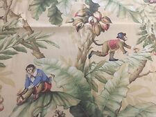 P Kaufman Monkees Banana Trees Cotton Fabric Stain Repellent 45X55 Rare
