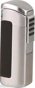 Passatore Cigar Lighter - 3er Jet - Chrome/Satin - 7-mm-Rundcutter - Case