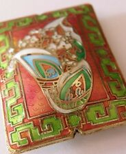 Rectangular Cloisonne Focal Bead, Art Deco Style, Copper/Green. Jewellery Making