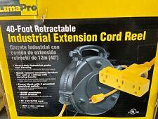 Luma-Pro 40 Ft Retractable Extension Cord Reel 12Awg/3C Sjtow Power Cord Yellow