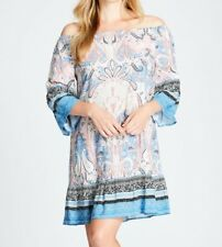 Crossroads Off The Shoulders Paisley Print Blue Mix Dress Size 16 Free Post Aus