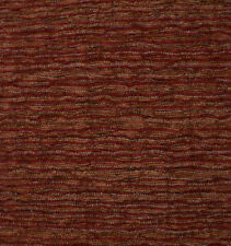 Drapery Upholstery Fabric Textured Chenille Rippling Horizontal Stripes - Henna