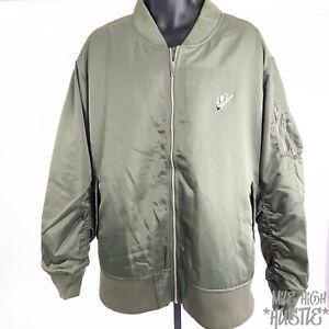 Nike Sportswear Men's Size 3XL Punk Bomber Flight Jacket Olive Orange