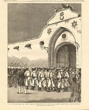 1884 ANTIQUE PRINT-SUDAN-MARINES AND BLUE JACKETS MARCHING INTO SUAKIM