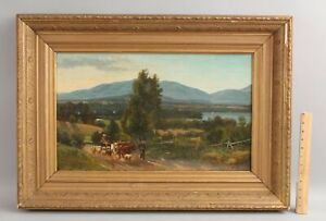 19thC Antique FREDERIC RONDEL American Country Cow Sheep Landscape Oil Painting