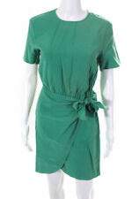 Paris Atelier + Other Stories Womens Solid Short Sleeve Wrap Dress Green Size 2
