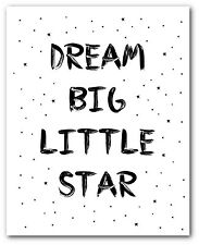 Dream Big Print, Nursery Star Quote Art, 8 x 10 Inches, Unframed
