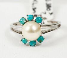 Anillo Oro Blanco 585 con perla cultivada y turquesa