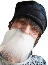 New White Beard With Cap & Glasses Perfect For Dwarf / Gnome Themed Costumes SET