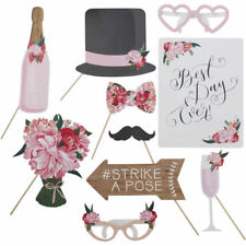 10pcs Boho Floral Wedding Selfie Party Photo Booth Props Hen Photobooth Signs