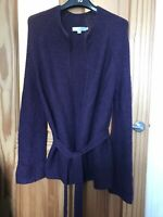 Boden Purple Chunky Cable Knit Long Sleeve Belted Wool Blend Cardigan UK 10 VGC