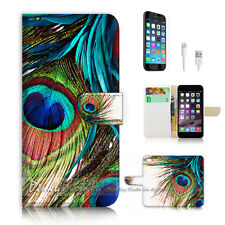 ( For iPhone 7 ) Wallet Case Cover P2314 Peacock Feather