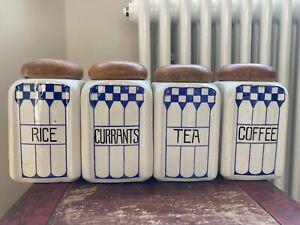 Set 4 Vintage Kitchen Food Storage Jars Blue White Wooden Coffee Tea Caddy