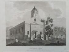 1809 antica stampa; St Mary's Church, Hanwell, Londra